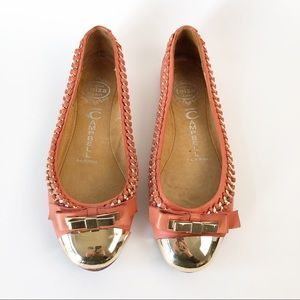 Jeffrey Campbell Gold Chain, Toe and Bow Flat 7